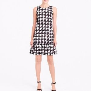 J. Crew flounce  dress in houndstooth size 10